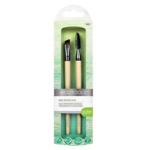 EcoTools Brow Shaping Duo Includes Angled Brush and Spoolie Brush to Create Defined Brow, Natural Brow, Boy Brow Looks ()