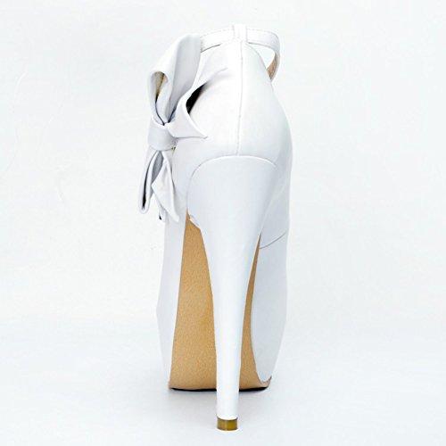 Chaussures talon cheville Deco haut Toe Butterfly Kolnoo Peep 14cm white Femmes pompes plateforme Bracelet Handmade IxznYF1O