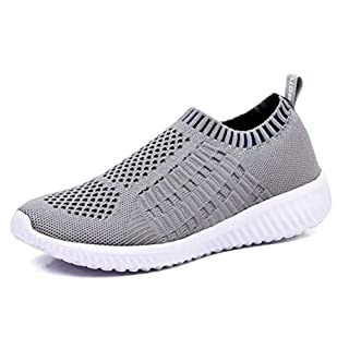 konhill Women's Lightweight Casual Walking Athletic Shoes Breathable Mesh Work Slip-on Sneakers Size 5 US Gray,35