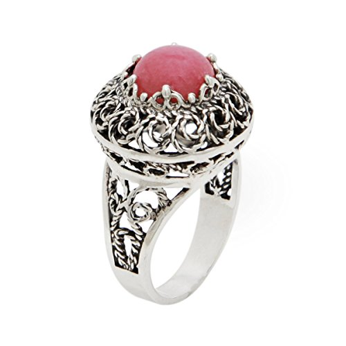 Pink Rhodonite 925 Sterling Silver Filigree Dome Ring (Sizes 6 - 11) (9)