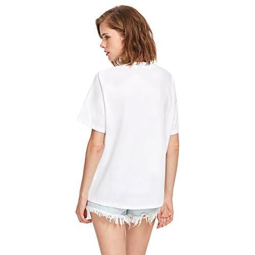 93734806e3ab 80%OFF ROMWE Women s Tee Wink Eyes Print Graphic Short Sleeve Loose cute  sweet T