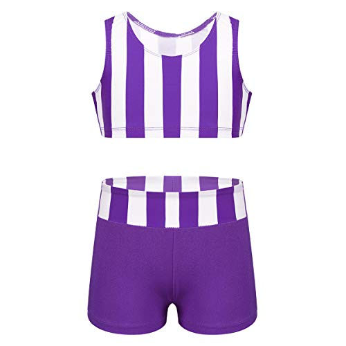 CHICTRY Kids Girls Racer Back Top and Shorts Love Dance Sets for Gymnastics Leotard Dancing Striped Purple 8-10