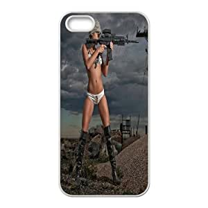 Personalized DIY Woman With Gun Custom Cover Case For iPhone 5, 5S Z1S693190