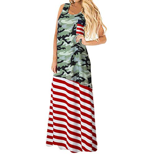 ✔ Hypothesis_X ☎ Women's Floral Print Long Sleeve Pockets Empire Waist Pleated Long Dress Round Neck Sleeveless Dress Red