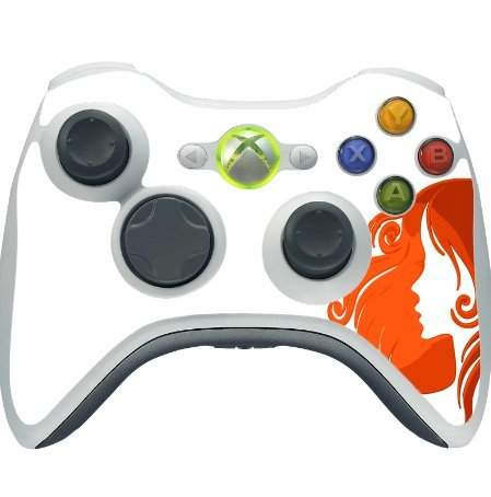 Girl Silhouette Orange on White Background Xbox 360 Wireless Controller Vinyl Decal Sticker Skin by Moonlight Printing -