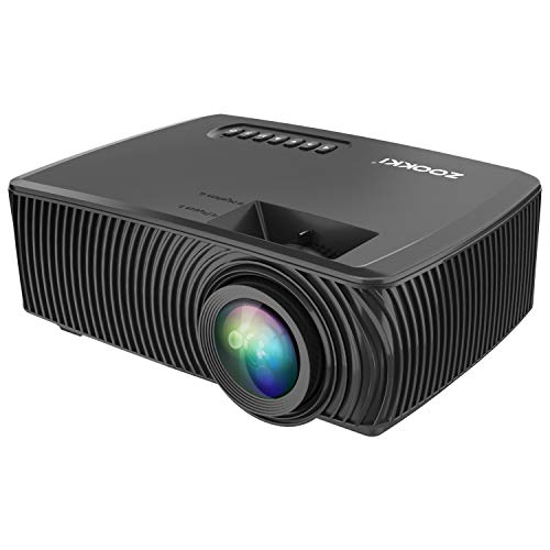Projector, 2nd Version Mini Video Projector, Multimedia Home Theater Video Projector Supporting 1080P, HDMI, USB, VGA, AV -Home Cinema by ZOOKKI