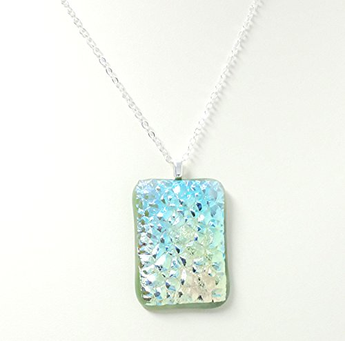 Fused Stained Glass Necklace - Green Druzy Dichroic