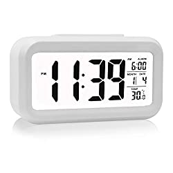 HeQiao LED Clock Slim Digital Alarm Clock Large Display Travel Alarm Clock with Calendar Battery Operated for Home Office - White (Temperature Display, Snooze Function, White Night Light)