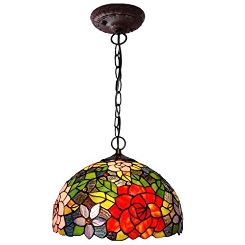 Tiffany Style Pendant Lamp,12-inch Two-tone Rose Glass Art Chandelier,Bedroom Restaurant Bar Pendant Lights (Tone Two Tiffany Ring)