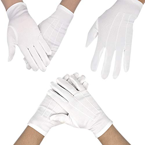 6 Pairs White Gloves for Children's Hand Moisturizing Gloves Nylon Cotton Gloves for Police Formal Tuxedo Honor Guard and Special Occasions -