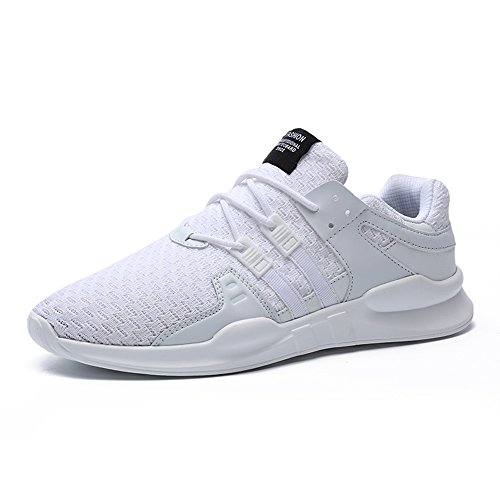Hommes Chaussures de course Baskets Léger Sports Lace Up Chaussures Athletic Run Chaussures (42, Blanc)