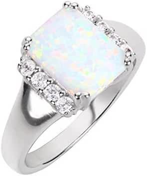 Rectangle White Simulated Opal and Cubic Zirconia Ring Sterling Silver Size 14