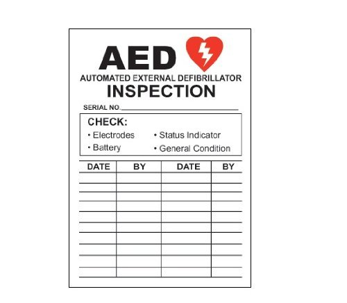 AED Automated External Defibrillator Inspection Decal Sticker