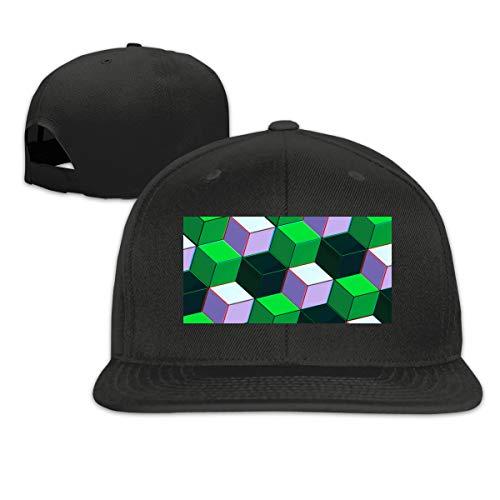 Aiamu Funny Three-Dimensional Square Graphic Color Adjustable Cotton Hat Unisex Hip Hop Baseball Caps ()