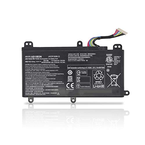 Fully AS15B3N Replacement Laptop Battery Compatible with Acer Predator G9-591 G9-592 G9-791 G9-792 GX-791 Series Notebook KT.00803.004 4ICR19/66-2 - 14.8V 88.8Wh 6000mAh