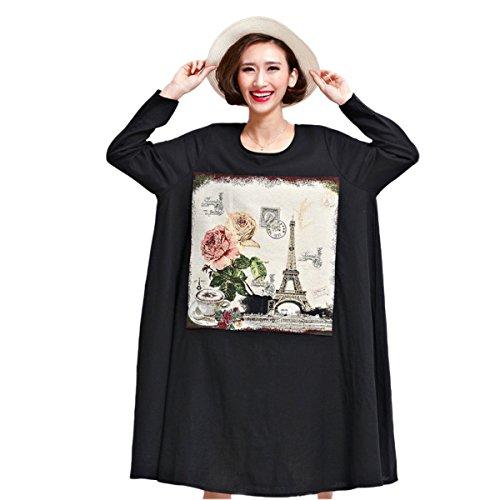 Vestido De La Manera De Gran Tamaño Sueltos HGDRSpring Y Verano De Las Mujeres Black