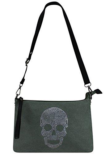 Totenkopf étoile pour avec sac à toile en de Strass Grün Femme luxe main Sac wpC7qB