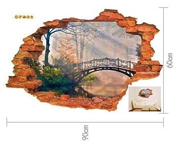 3D falso ladrillo pared paisaje pegatinas de pared ...
