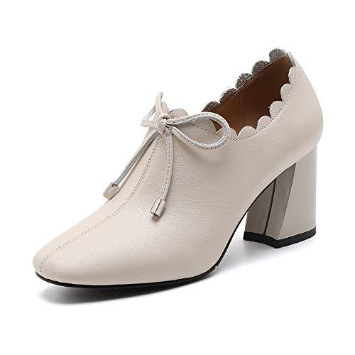 Solo Albaricoque Tacones Cremallera Mujer Cabeza Cuadrada Zapatos Cuero 2019 Primavera Encaje Moda Altos Arco Shinik 47AqBB