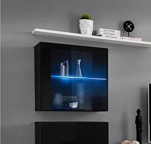 Lettiemobili – Mobile pensile verticale berit in colore nero con LED (Modulo individuale) muebles bonitos