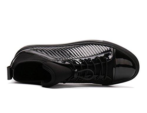High British Tide pelle da Short Colore Uomo Boots HWF in uomo casual Scarpe top Martin Style 5 dimensioni Scarpe EU40 Moda Nero Scarpe UK6 Pelle Nero in n7nWz6U