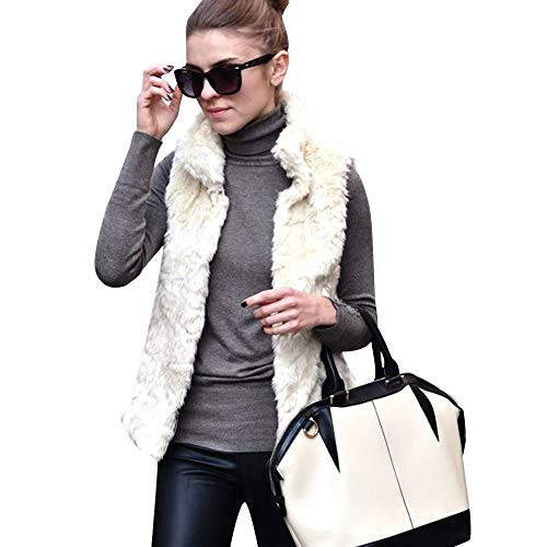 - HOSOME Women Faux Fur Coat Ladies Sleeveless Vest Waistcoat Jacket Gilet Shrug Outwear Tops Beige