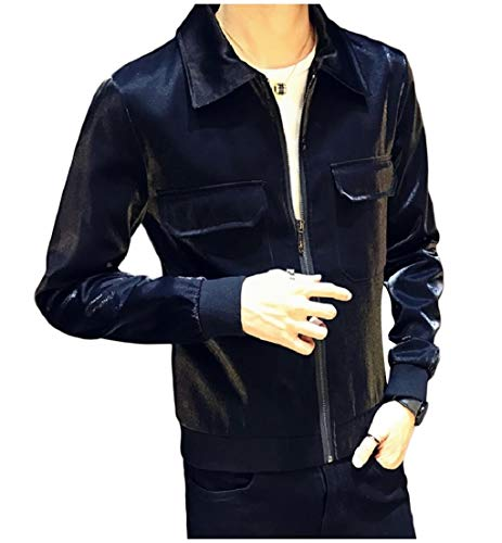Collar Turn Mens Shiny Loose Jacket Up Coats Down AngelSpace Zip Black Casual A8fqqY