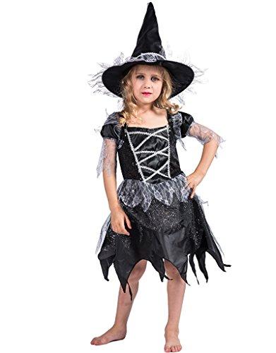 JIESENG Halloween Costume Twinkle Witch for Kids,Dress for Girls,Fit for Dress up Parties,Festivals,Trick Treat