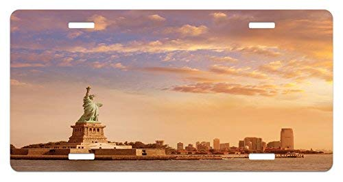 Skyscraper Sculptures - Iliogine Sculptures Statue of Liberty American Freedom Symbol on NYC Sunset with River Skyscraper Yellow White High Gloss Aluminum Novelty License Plate Cover Car Decoration