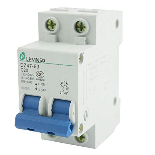 230v Mini (AC 230V 400V 20A 6000A 2Pole On/Off Switch Circuit Breaker DZ47-63 C20)