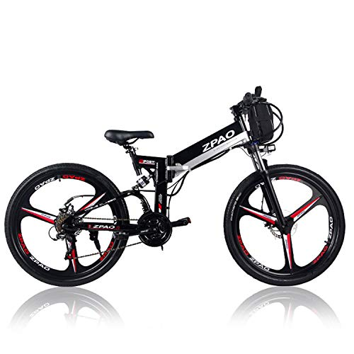 ZPAO KB26 21 Speed Folding Electric Bicycle, 48V 10.4Ah Lithium Battery, 350W 26 Inch Mountain Bike, 5 Level Pedal Assist, Suspension Fork (Black Double Battery, Standard)
