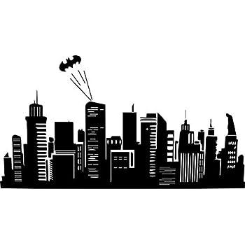 Amazon Com Batman Inspired Gotham City Skyline Vinyl Wall