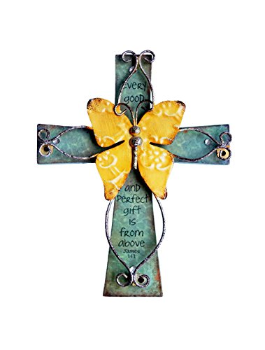 (Unique Wooden Crucifix With Antiqued Metal Decorative Butterfly And Inspirational Prayer Inscribed On Cross)