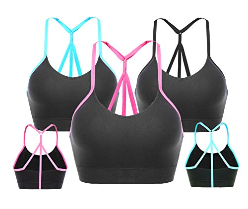 AKAMC Women's Removable Padded Sports Bras Medium Support Workout Yoga Bra 3 Pack,X-Large