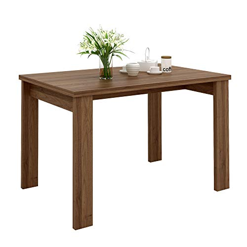 WLIVE Wood Dining Table in Block Style Legs, Kitchen Dining Room Furniture/Natural Brown Finish