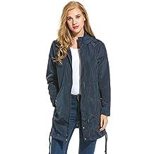 Meaneor Women's Hooded Long Sleeve Zip Up Rainproof Windproof Jacket Raincoat