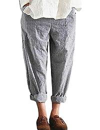 Hajotrawa Womens Striped Baggy High Rise Pocket Casual Harem Pantalones elásticos