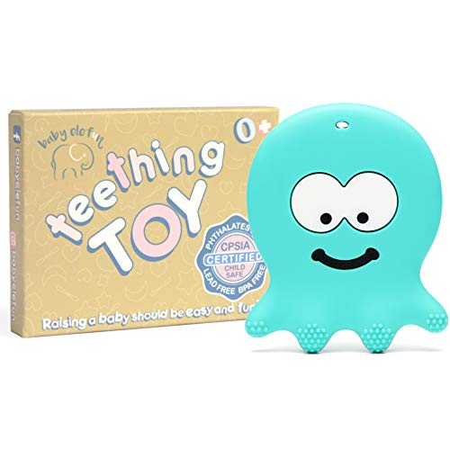 6 Month Old Baby Teething Toys - BPA Free Silicone - Easy to Hold, Soft, Bendable, Highly Effective Octopus Teether, Best for Freezer, Cool 3 6 12 Months 1 Year Old