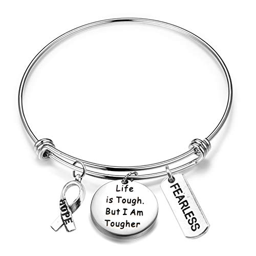 (MAOFAED Cancer Survivor Gift Cancer Fighter Gift Life is Tough But I am Tougher Cancer Awareness Inspirational Gift Awareness Ribbon Charm Cancer Survivor Bracelet for Her (Cancer Survivor)
