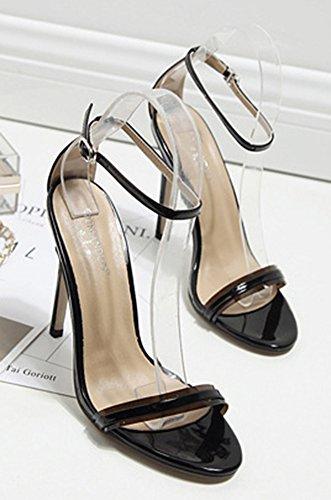 Cheville Bride Boucle Elégant Femme Sandales Aisun Noir n6ZURwqx