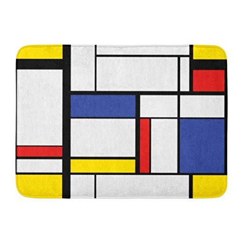 Koperororo Doormats Bath Rugs Outdoor/Indoor Door Mat Blue Pattern Abstract Modern Painting in Mondrian Colorful Bauhaus Geometric Bathroom Decor Rug 16