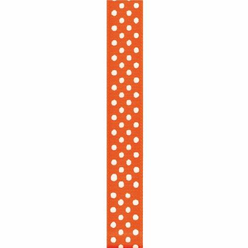 Offray Grosgrain Confetti Dot Craft Ribbon, 5/8-Inch x 9-Feet, Torrid Orange & (Orange Ribbon)
