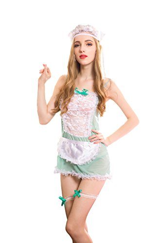 - amazaramu_vivi Frisky Naughty French Maid Sexy Sex Cosplay Costume Lingerie for Women Cupless Fishnet Bodysuit Full Body Skirt Satin hot Cheap Nights Gay one Piece Sleepwear ope Sets (Green Lace)