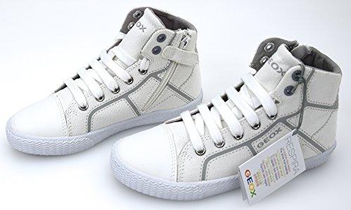 Geox J SMART BOY D - zapatillas deportivas altas de lona niño BIANCO - WHITE