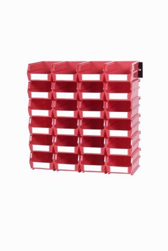 Triton Products 3-210RWS LocBin 26 Piece Wall Storage Unit with 5-3/8 Inch L x 4-1/8 Inch W x 3 Inch H Red Interlocking Poly Bins, 24 CT, Wall Mount Rails 8-3/4 Inch. L with Hardware, 2 pk