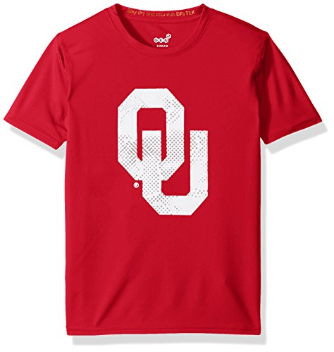 OuterStuff NCAA Oklahoma Sooners Youth Boys Carbon Logo Performance Short sleeve Tee, S(8), Victory - Oklahoma Sooners Logos