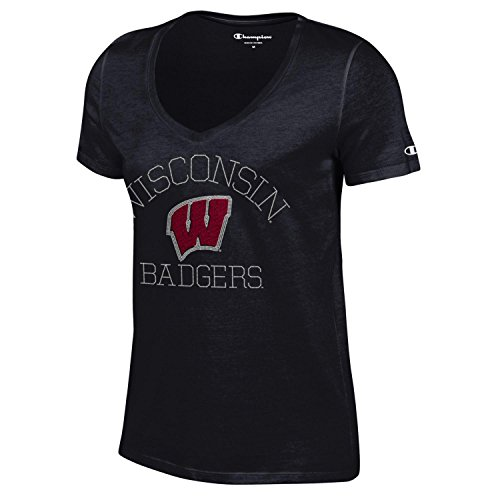 (NCAA Champion Women's University Short Sleeve V-Neck T-Shirt Wisconsin Badgers Large)