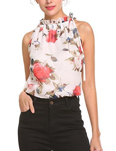 Pinspark Women's Summer Sleeveless Halter Neck A-Line Floral Print Blouse Tank Tops (XXL, (Petite Print Halter Top)