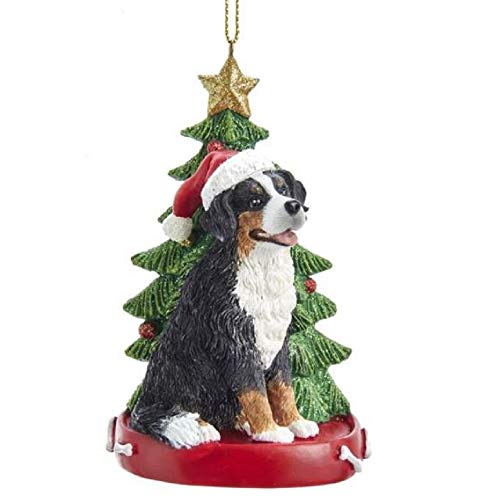 Kurt Adler Bernese Mountain Dog Wearing Santa Hat with Christmas Tree Ornament E0369BM New