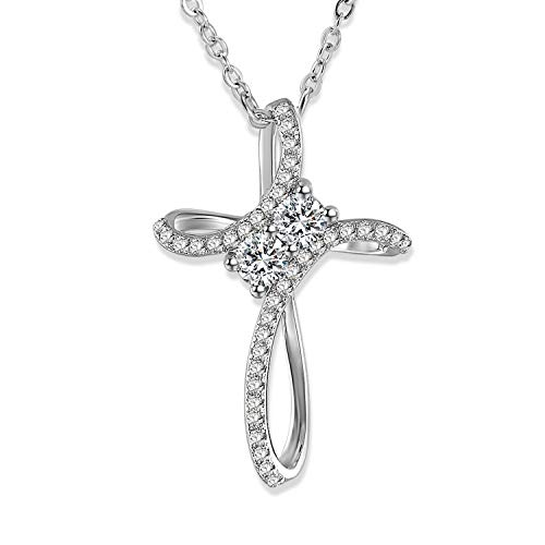 Gercia Pendant Necklace 14K White Gold Plated Cubic Zirconia Necklace Jewelry Gift for Women 18